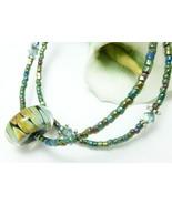 Teal Green Lampwork 2-stranded Swarovski Crystal Beaded Bracelet  - $18.00