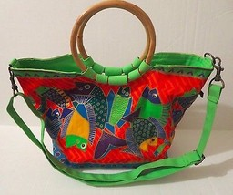 Laurel Burch Multi-Color Fish Canvas Tote Beach Bag Bamboo Handles Strap - $46.39