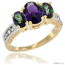 W gold ladies oval natural amethyst 3 stone ring with mystic topaz sides diamond accent thumb200