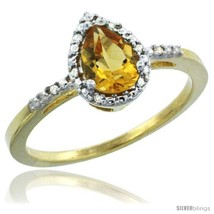 14k yellow gold diamond citrine ring 0.59 ct tear drop 7x5 stone 38 in wide thumb200