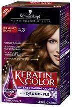 Schwarzkopf Keratin Color Permanent Hair Color Cream, 4.3 Red Velvet Brown - $9.63