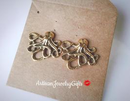 Hypo-Allergenic Gold Octopus Stud Earrings Nautical Earrings Gold Octopu... - $38.00