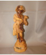OLIVE WOOD GOOD SHEPHERD STATUE, HAND CARVED, SOUVENIR/GIFT FROM THE HOL... - $29.99