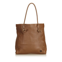 Pre-Loved Gucci Brown Others Leather Braided Tote Italy - $457.22