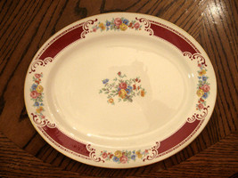 VG Rare Vintage Homer Laughlin Lady Alice Red Floral Platter Gold Trim 1... - $59.36