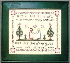 CLEARANCE Evergreen Friendship cross stitch chart C Street Samplerworks - $7.00