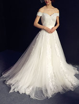 Rosyfancy Off Shoulder Lace Applique A-line Wedding Dress With Satin Sash - $275.00