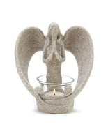 Angel Candle Holder Stone Look Tealight Angelic... - $30.02