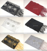 Sequin Shawl Rose Flower Beads Scarf Wrap Fringe Fashion Gift Elegant Embellish - $10.35