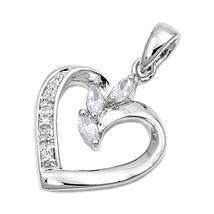 Sterling Silver Sparkly Elegant CZ Heart pendant New Anniversary Love Gift d112 - $18.27