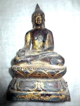 LARGE GOLD GILED THAI BUDDHA STATUE PRA PANG-MARAVICHAI BRONZE ORNAMENT ... - $99.99