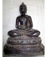 LARGE SITTING THAI BUDDHA STATUE ZONGBINDABATH BRONZE ORNAMENT AMULETS - $79.99