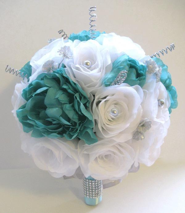 Wedding Silk Flower Bouquet 17 Pc Bridal and 50 similar items