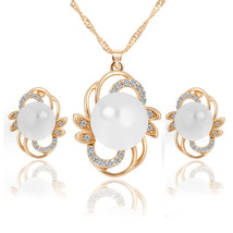 Gold Plated Pearl Crystal  Bridal Promball  Earrings/Necklace Party Jewe... - $14.42
