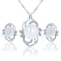 White Gold Plated White Pearl Bridal Jewelry Set Crystal  Necklace Earri... - $14.42