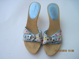 COACH TAN WOOD Multi-Color Polka Dot Clog Slides w/ Rhinestone Buckle, Size 6.5 - $55.00