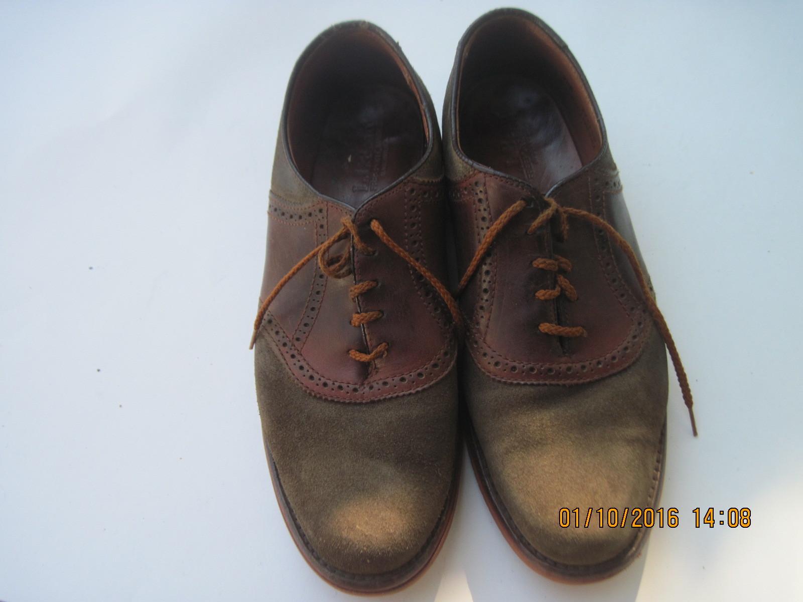 Vintage L.L.BEAN Green Suede Men's Saddle Leather Oxford