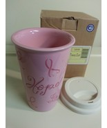 Longaberger Travel Cup / Mug Pottery Stoneware Hope Pink  New In Box - $9.85