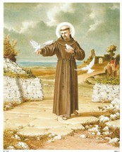 "Catholic Print Picture St. Francis Assisi & Birds 8x10"" ready to frame - $14.01"