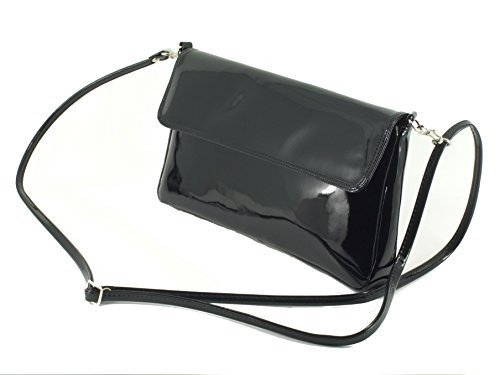 Loni Womens 3-Way Wonder Clutch Bag in faux leather patent in Grey