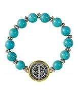 6 Pack - St. Benedict Turquoise Beaded Bracelet - $27.03