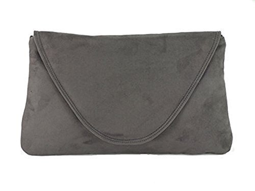 Loni Womens Attractive Large Faux Suede Clutch Bag/Shoulder Bag Wedding Party...