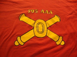 Vintage My Battalion World War II  795th AAA US Army red rare T Shirt L - $19.74