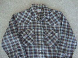 Vintage 70's Levi's Western Pearl Snap Rockabilly Punk rock Shirt L - $39.54