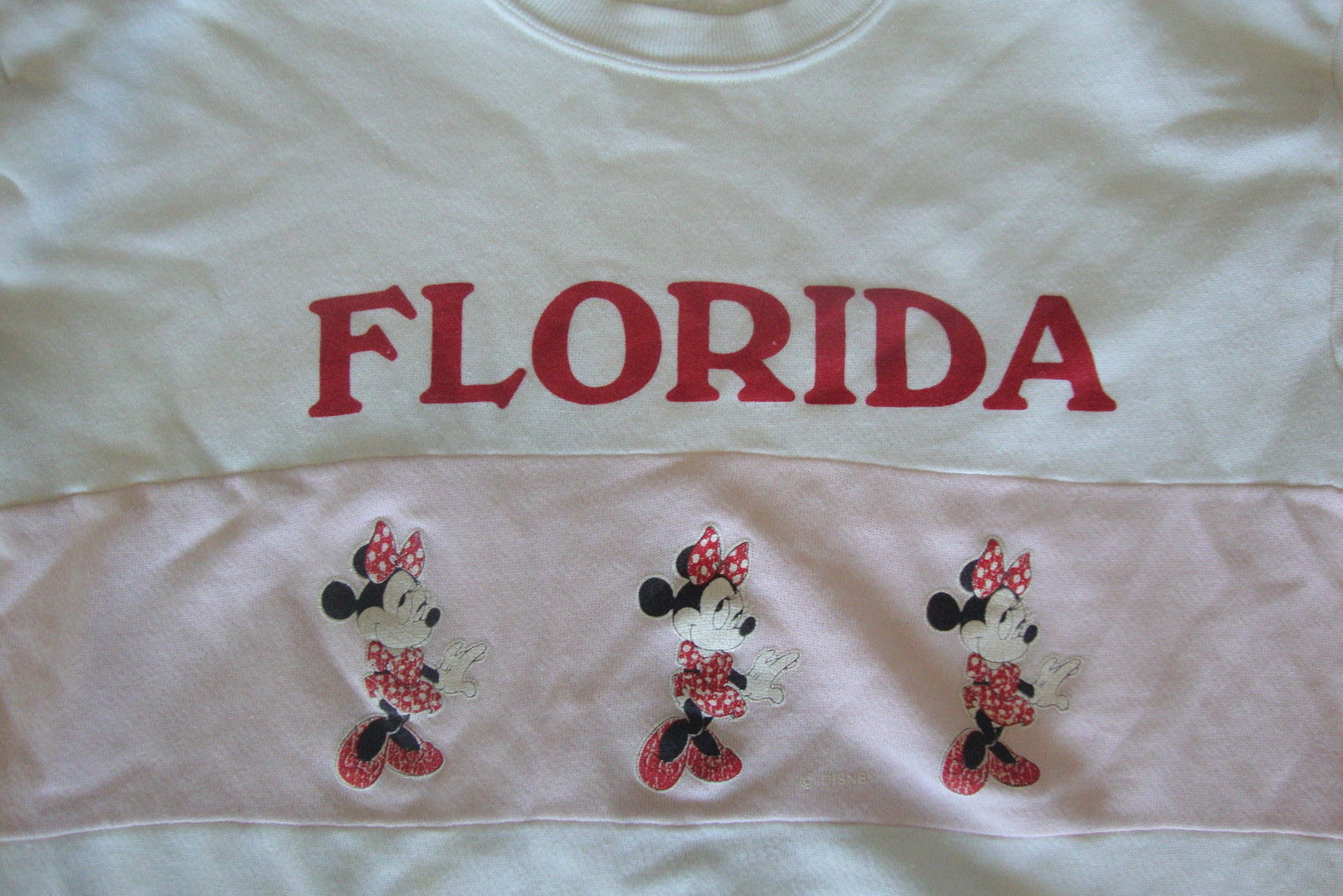 Primary image for Vintage Walt Disney World Florida Minnie Mouse White Pink Crew Neck Sweatshirt M