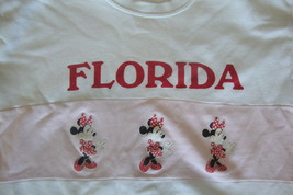 Vintage Walt Disney World Florida Minnie Mouse White Pink Crew Neck Swea... - $36.32