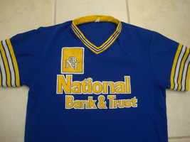 Vintage National Bank and Trust polyester v neck baseball punk rockJerse... - $16.77