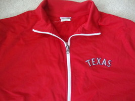 MLB Texas Rangers Baseball Red Majestic retro Zip Up Track Jacket XL - $29.64