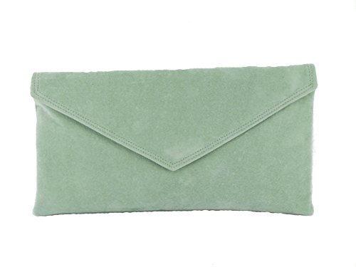 Loni Womens Neat Envelope Faux Suede Clutch Bag/Shoulder Bag in Light Royal Blue