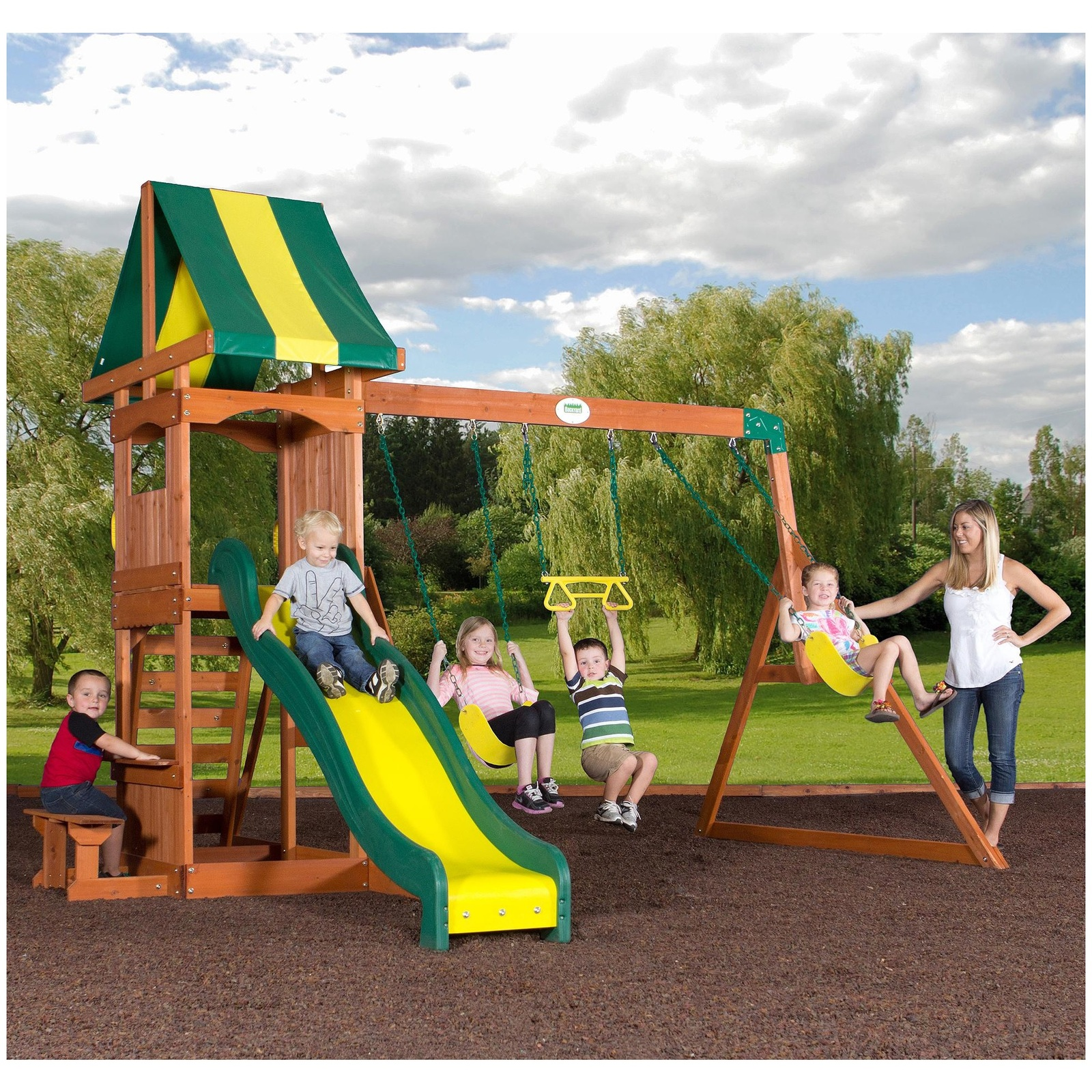 Kids play set wooden swingset playhouse playground swing for Childrens playhouse with slide and swing