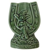 Vintage Sylvac Horseshoe Pixie vase Leprechaun 4297 Ireland Irish green ... - $22.99