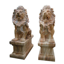 Gorgeous Pair of  Sun Glow Marble Lions Statues Garden Outdoor Sculpture... - $6,286.50