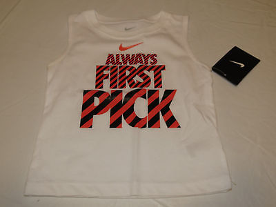 Boys Baby Nike 24M tank top shirt 66a026 001 white Always First Pick NWT