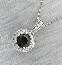 Stunning Ladies 14K 585 White Gold 2.72ctw Black Diamond Pendant Necklace - $994.85
