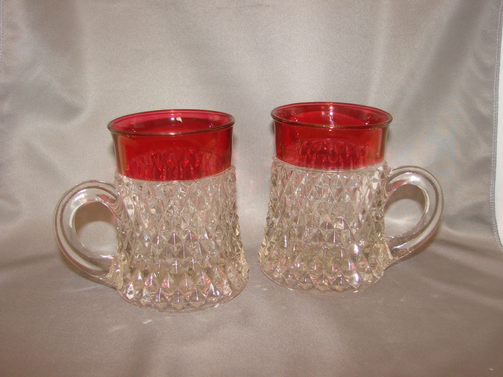 Indiana Glass Diamond Point Clear with Ruby Flash Edge Mugs (2) - $16.00