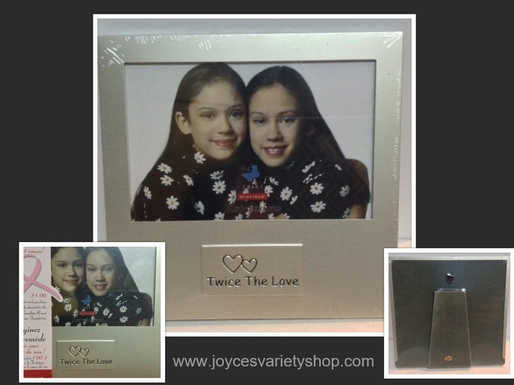 TWINS Photo Frame Silver 4x6 Stand or Hang NIB TWICE THE LOVE