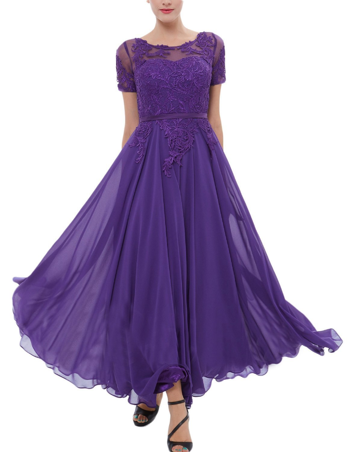 Women's Chiffon Lace Tea Length Mother of The Bride Dress with Short Sleeves