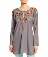 Johnny Was Women'S Autumn Bloom Tie-Neck Embroidered Tunic, Graphite, Me... - $384.27