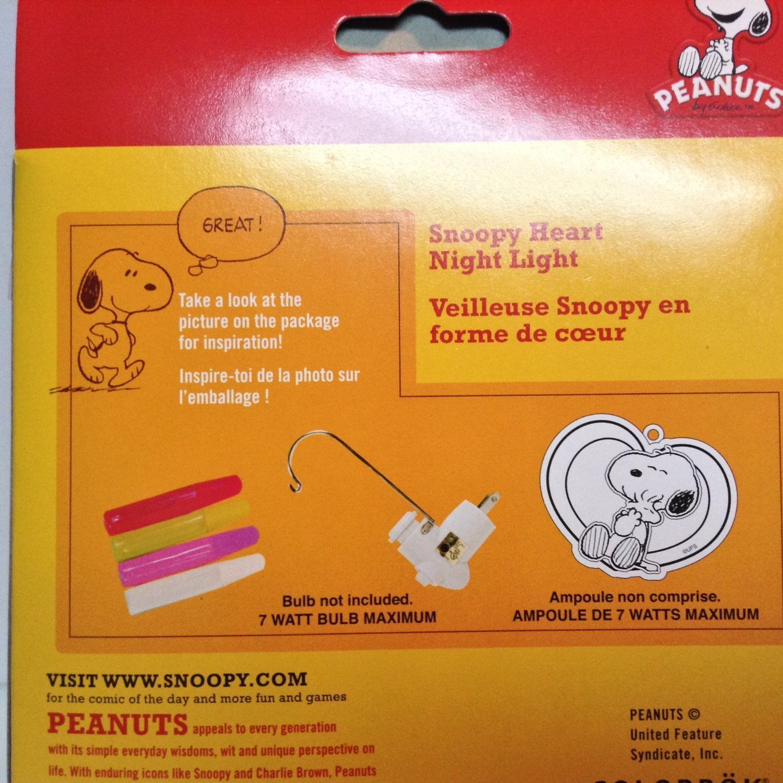 Peanuts Snoopy Heart Night Light DIY Color Kit NIB 8+