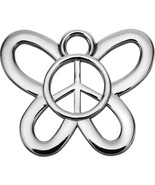 Butterfly Peace Sign Charm In Sterling Silver - $197.99