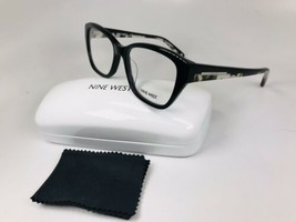 New Nine West NW5107 001 Black Eyeglasses with Blk Marble Temples 52mm w/Case - $44.50