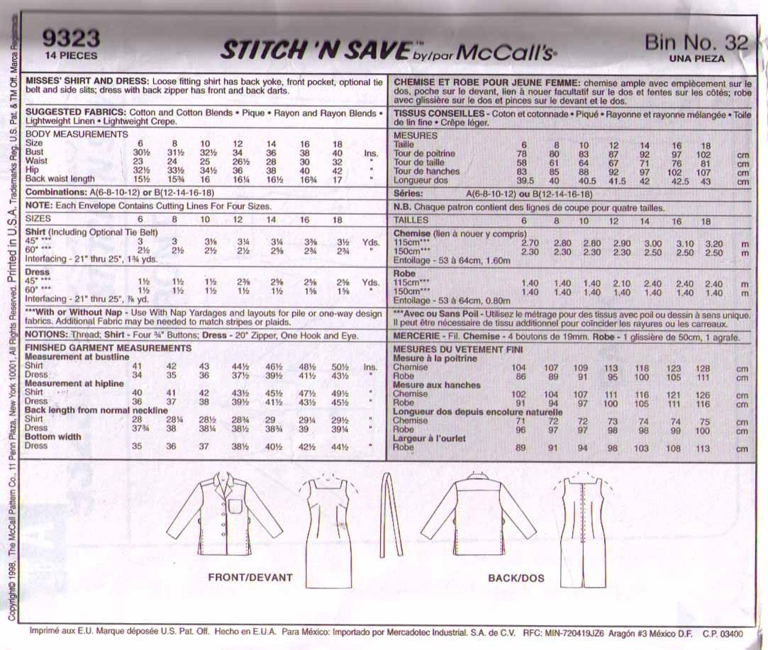 1998 LOOSE-FITTING SHIRT & DRESS Pattern 9323-m Size 6-12 - UNCUT