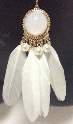 """Native American Feather Dream Catcher Necklace White Gold 19"""""""