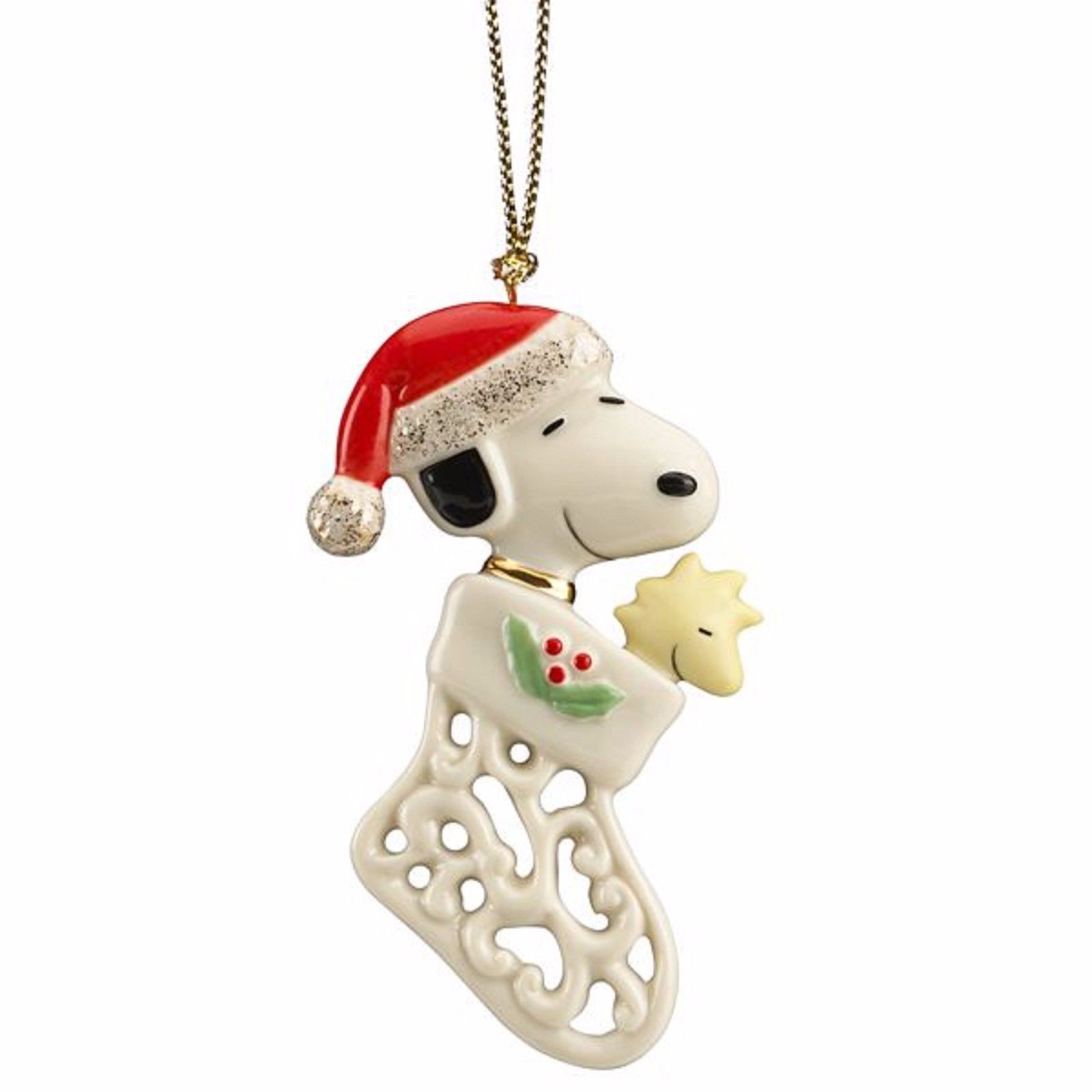 Lenox Peanuts Pierced Snoopy Ornament Woodstock In Stocking Christmas Gift NEW