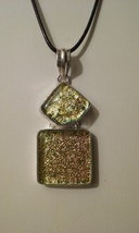 Large 2 Stone Dichroic Glass Pendant On Cord Ne... - $14.99