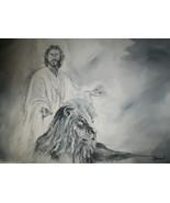Original Black & White 24x36 Acrylic Painting Jesus lion of Judah  port... - $99.00